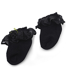 Mustang Anklet Socks Floral Motif - Black