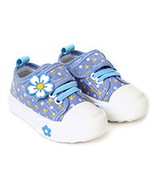 Cute Walk Casual Shoes With Velcro Closure Floral Aapplique - Light Blue