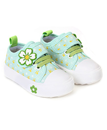 Cute Walk Casual Shoes With Velcro Closure Floral Aapplique - Light Green