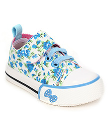 Cute Walk Canvas Shoes Floral Design - White Blue