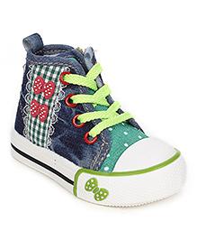 Cute Walk Canvas Shoes Butterfly Motif - Navy  Green