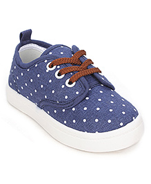 Cute Walk Dotted Canvas Shoes - Navy