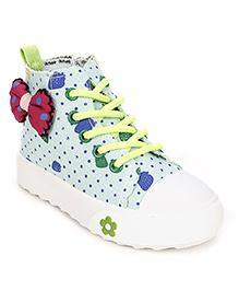 Cute Walk Canvas Shoes Bow Applique - Sea Green