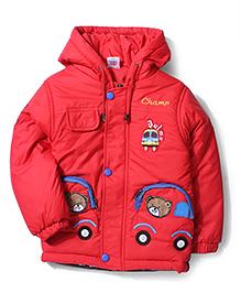 Babyhug Champ Print Hooded Jacket - Red