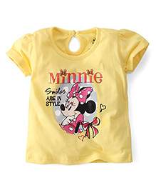 Disney by Babyhug Short Sleeves Top Minnie Print - Yellow