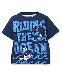 Prince And Princess Half Sleeves T-Shirt Riding The Ocean Print - Teal Blue