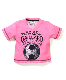 Prince And Princess Half Sleeves T-Shirt Gaillard Soccer Team Print - Pink