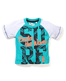 Prince And Princess Half Sleeves T-Shirt Surf Print - Dark Green