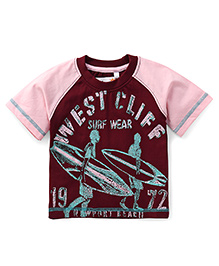 Prince And Princess Half Sleeves T-Shirt West Cliff Print - Wine Color
