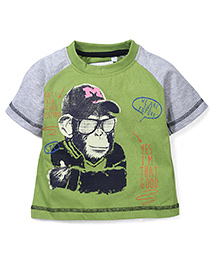 Prince And Princess Half Sleeves T-Shirt Printed - Kiwi Green