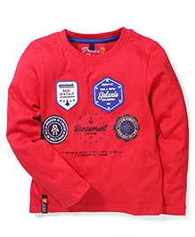 Prince And Princess Full Sleeves T-Shirt Embroidered Badge Detail - Red