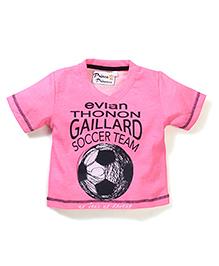 Prince And Princess Half Sleeves T-Shirt Gaillard Soccer Team Print - Pink