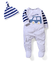 Mothercare Full Sleeves Romper With Cap Car Embroidery - Navy & White