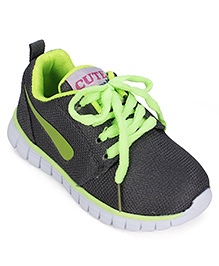 Cute Walk Sport Shoes Lace Up Style - Green And Grey