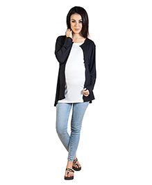 Blush 9 Full Sleeves Nursing Top With Attached Inner Black Outer Inner White