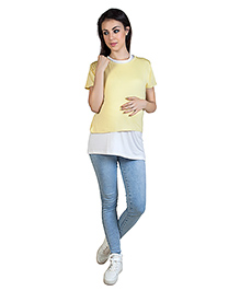 Blush 9 Nursing Double Layered T-Shirt Yellow With White Inner
