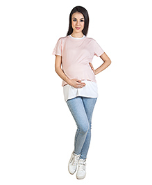 Blush 9 Nursing Double Layered T-Shirt Baby Pink With White Inner