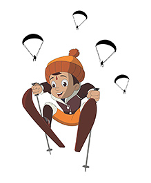 Chipakk Chhota Bheem Skiing & The Parachutes HD Wall Decals - Multi Color