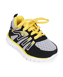 Cute Walk Sport Shoes Lace Up Style - Yellow And Grey