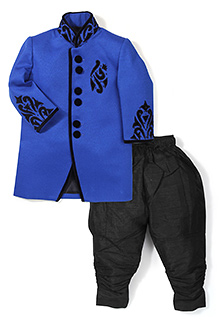 Robo Fry Full Sleeves Indo Western Suit - Royal Blue And Black
