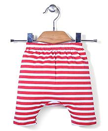 Babyhug Diaper Leggings Stripes Print - White and Red