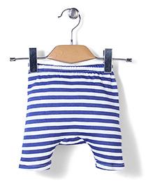 Babyhug Diaper Leggings Stripes Print - White and Blue