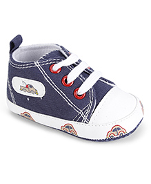 Cute Walk Baby Booties Lace Up Style - Blue