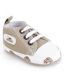 Cute Walk Baby Booties Lace Up Style - Beige