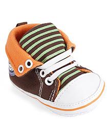 Cute Walk Baby Booties - Brown And Orange