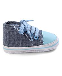 Cute Walk Shoes Style Booties - Aqua Blue Black
