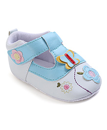 Cute Walk Booties Floral Patch - White Sky Blue