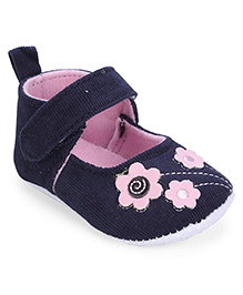 Cute Walk Booties Floral Patch - Navy Blue Light Pink
