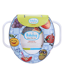 Babyhug Soft Cushioned Baby Potty Seat With Handle Fruit Print - Blue