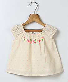 Beebay Cap Sleeves Top Floral Embroidery - Off White