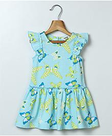 Beebay Cap Sleeves Frock Butterfly Print - Blue