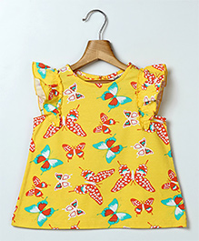 Beebay Cap Sleeves Butterfly Printed Top - Yellow