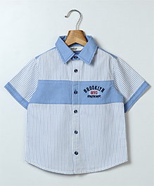 Beebay Half Sleeves Striped Shirt - Blue