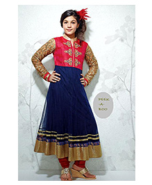 Peek a Boo Anarkali Ethnic Dress - Royal Blue & Red