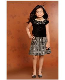 Peek a Boo Stunning Party Top & Skirt Set - Black