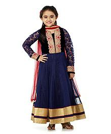 Peek a Boo Anarkali Ethnic Dress - Navy Blue