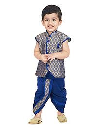 Bownbee Sleeveless Jacquard Jacket Dhoti Set - Blue