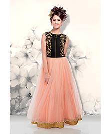 Peek a Boo Stylish Evening Gown - Peach & Black