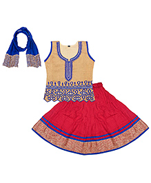Bownbee Sleeveless Lehenga Choli With Dupatta - Golden Pink