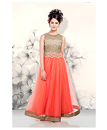 Peek a Boo Stylish Evening Gown - Orange
