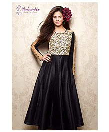 Peek a Boo Floral Print Evening Gown - Black