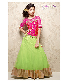 Peek-a-boo Ethnic Lehenga & Choli Set - Pink & Green
