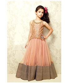 Peek a Boo Stylish Evening Gown - Peach & Gold