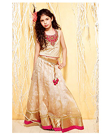 Peek-a-boo Ethnic Chaniya & Choli Set - Cream
