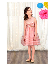 Peek a Boo Flower Belt Party Dress - Baby Pink