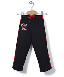 Simply Solid Color Track Pant With Print - Black & Red